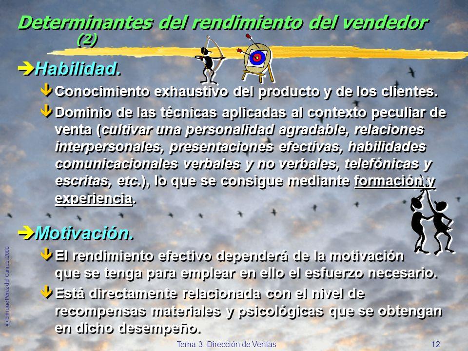 © Enrique Pérez del Campo, 2000 11 Tema 3: Dirección de Ventas Determinantes del rendimiento del vendedor èPercepción del rol. êComprender lo que impl