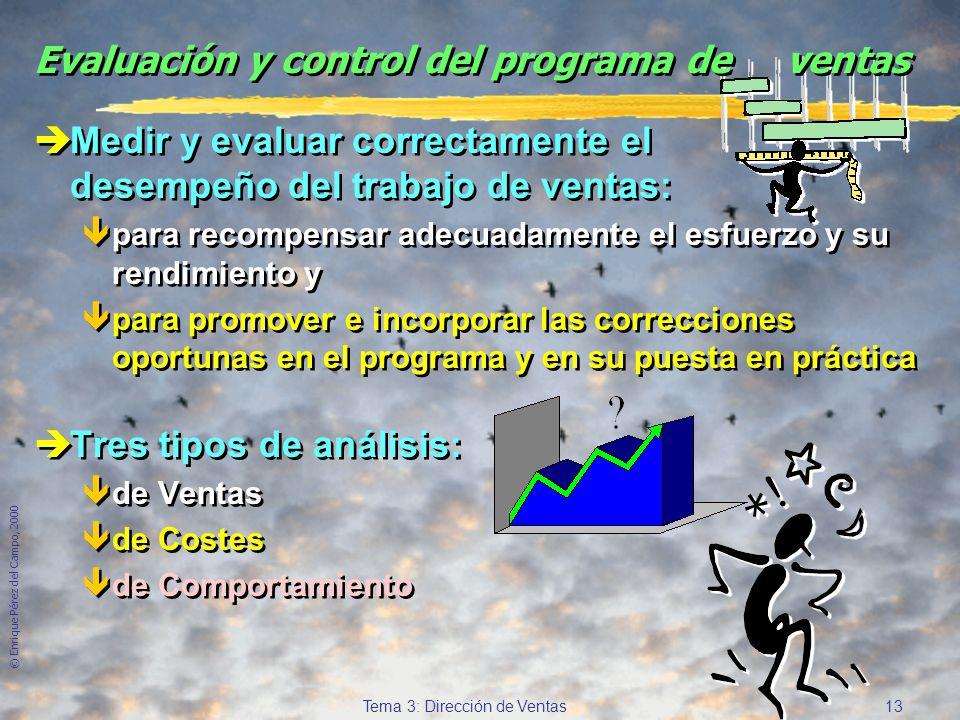 © Enrique Pérez del Campo, 2000 12 Tema 3: Dirección de Ventas Determinantes del rendimiento del vendedor (2) èHabilidad. êConocimiento exhaustivo del