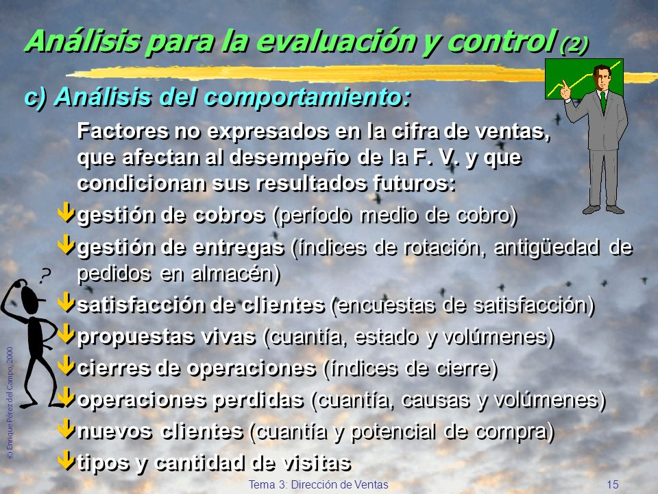© Enrique Pérez del Campo, 2000 14 Tema 3: Dirección de Ventas Análisis para la evaluación y control a) Análisis de ventas: êVentas del conjunto y de
