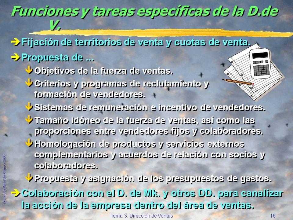 © Enrique Pérez del Campo, 2000 15 Tema 3: Dirección de Ventas Análisis para la evaluación y control (2) c) Análisis del comportamiento: Factores no e