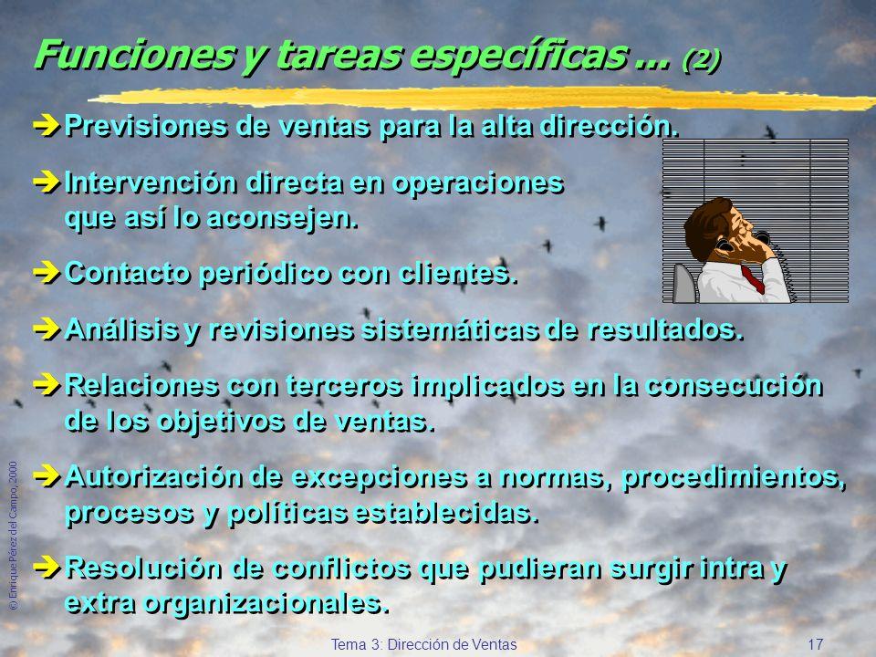 © Enrique Pérez del Campo, 2000 16 Tema 3: Dirección de Ventas Funciones y tareas específicas de la D.de V. èFijación de territorios de venta y cuotas