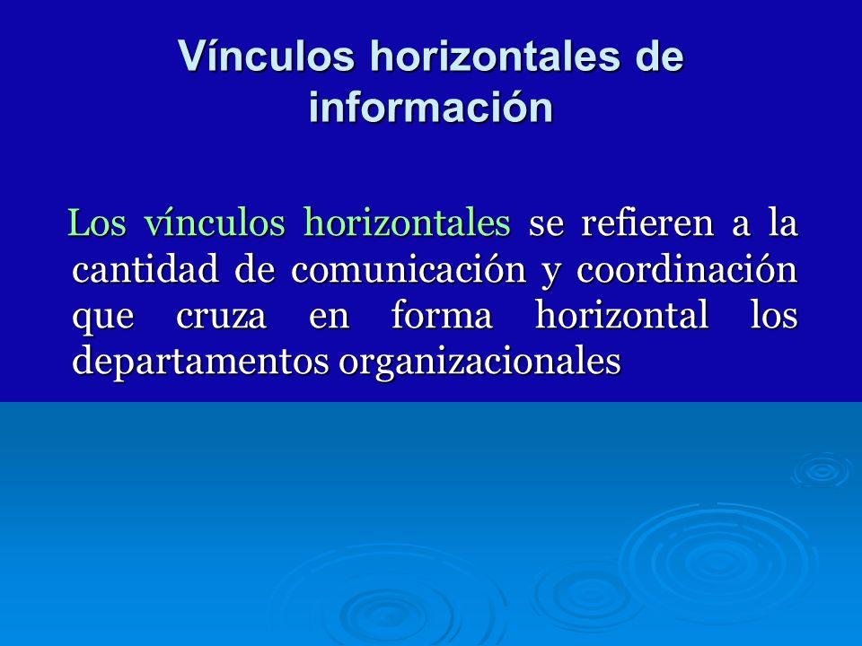 Vínculos horizontales de información Los vínculos horizontales se refieren a la cantidad de comunicación y coordinación que cruza en forma horizontal