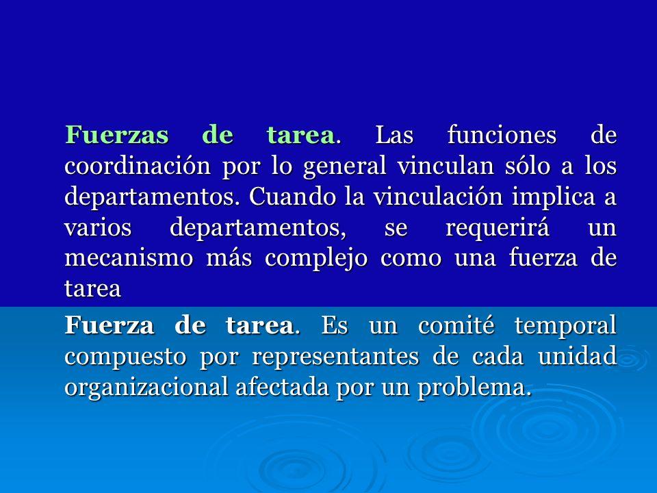 Fuerzas de tarea. Las funciones de coordinación por lo general vinculan sólo a los departamentos. Cuando la vinculación implica a varios departamentos