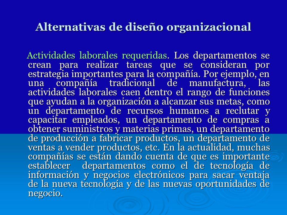 Alternativas de diseño organizacional Actividades laborales requeridas. Los departamentos se crean para realizar tareas que se consideran por estrateg