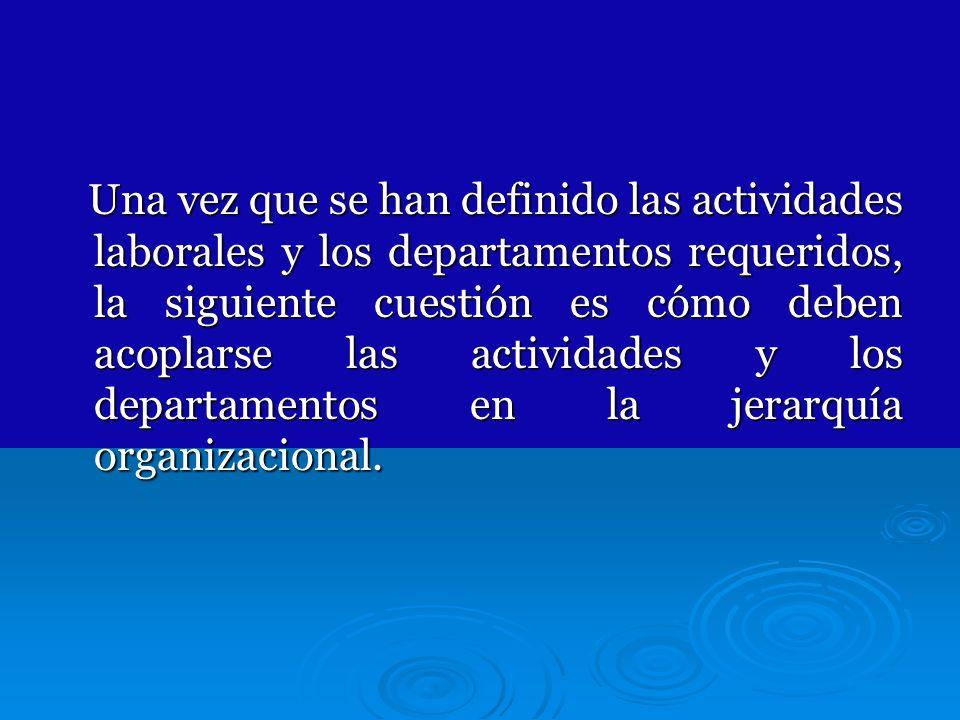 Una vez que se han definido las actividades laborales y los departamentos requeridos, la siguiente cuestión es cómo deben acoplarse las actividades y