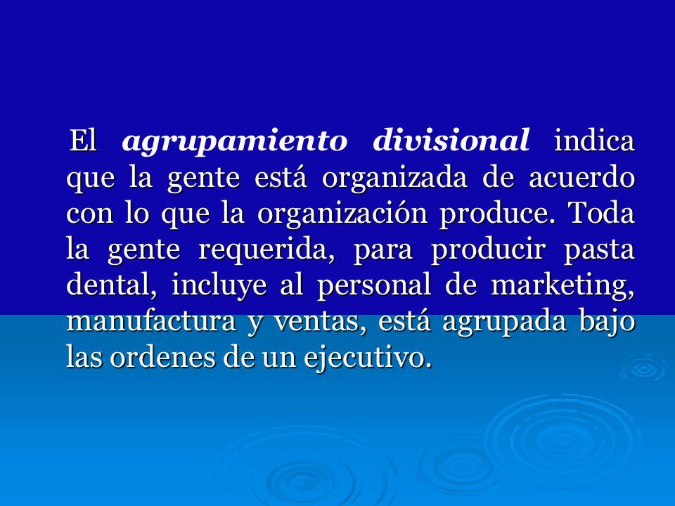 El indica que la gente está organizada de acuerdo con lo que la organización produce. Toda la gente requerida, para producir pasta dental, incluye al