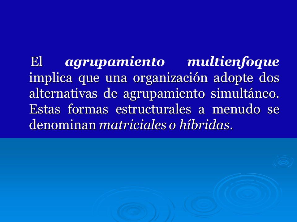 El implica que una organización adopte dos alternativas de agrupamiento simultáneo. Estas formas estructurales a menudo se denominan matriciales o híb