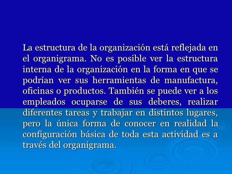 La estructura de la organización está reflejada en el organigrama. No es posible ver la estructura interna de la organización en la forma en que se po