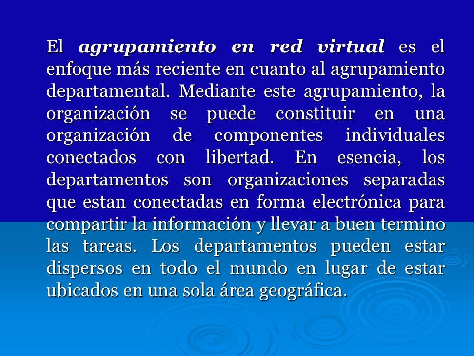El agrupamiento en red virtual es el enfoque más reciente en cuanto al agrupamiento departamental. Mediante este agrupamiento, la organización se pued
