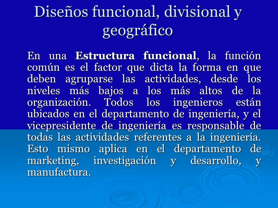 Diseños funcional, divisional y geográfico En una Estructura funcional, la función común es el factor que dicta la forma en que deben agruparse las ac