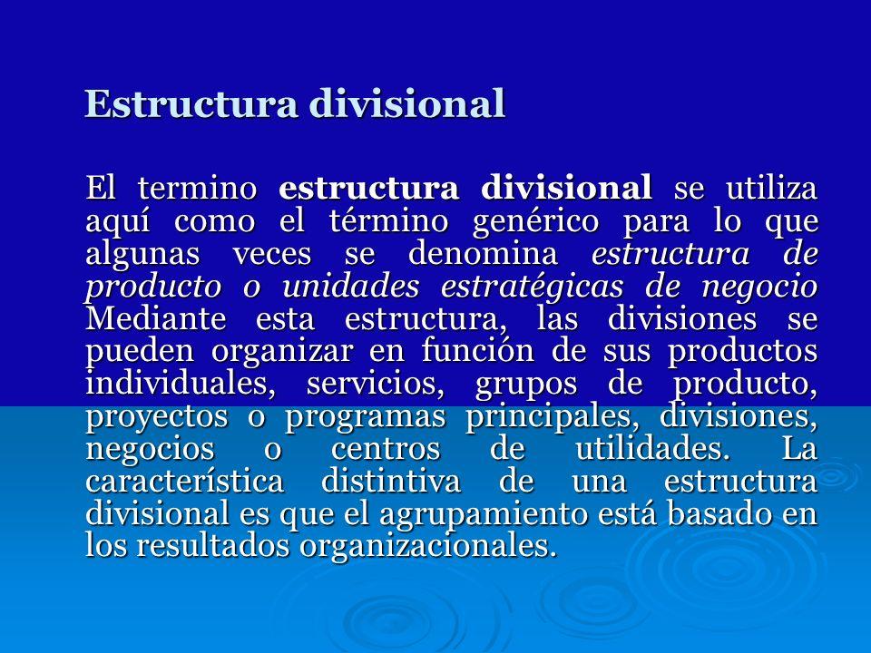 Estructura divisional El termino estructura divisional se utiliza aquí como el término genérico para lo que algunas veces se denomina estructura de pr