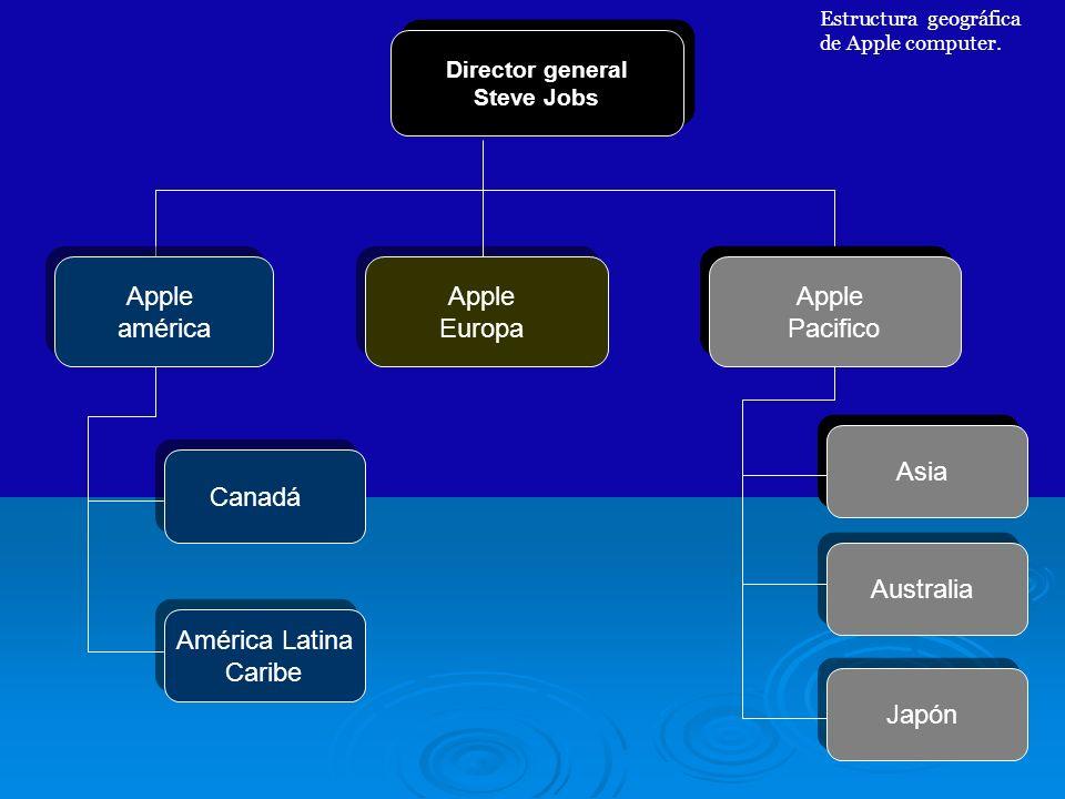 Director general Steve Jobs Director general Steve Jobs Apple américa Apple américa Apple Europa Apple Europa Apple Pacifico Apple Pacifico Estructura