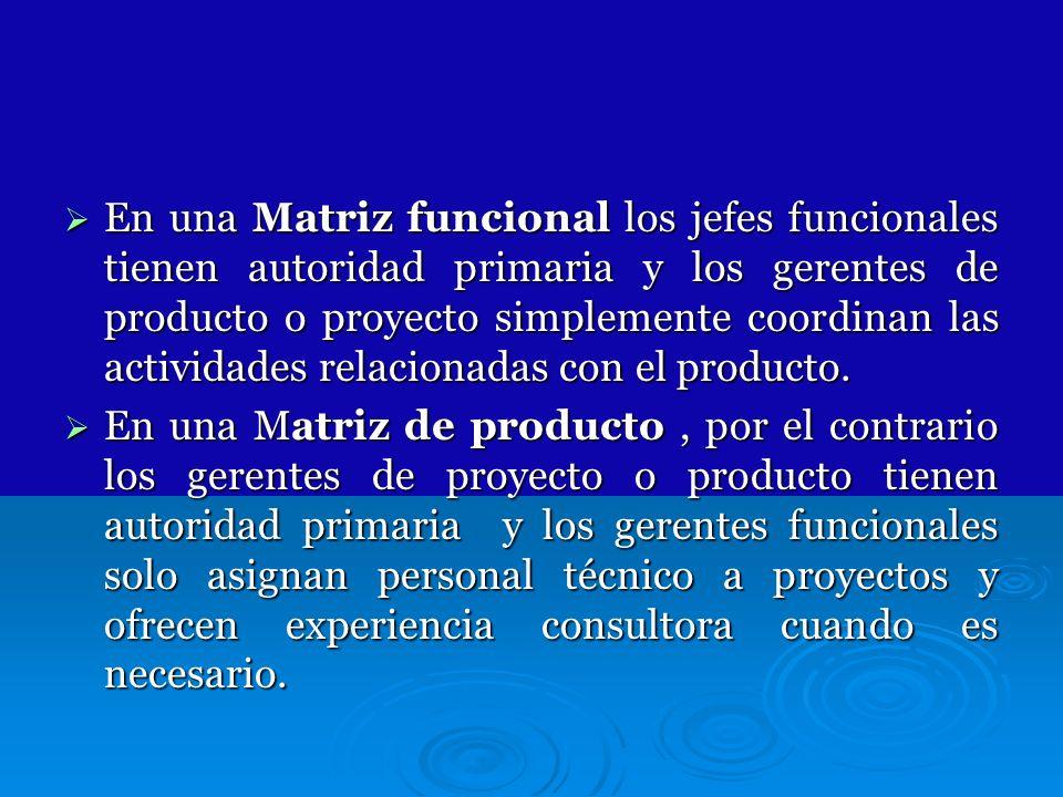 En una Matriz funcional los jefes funcionales tienen autoridad primaria y los gerentes de producto o proyecto simplemente coordinan las actividades re