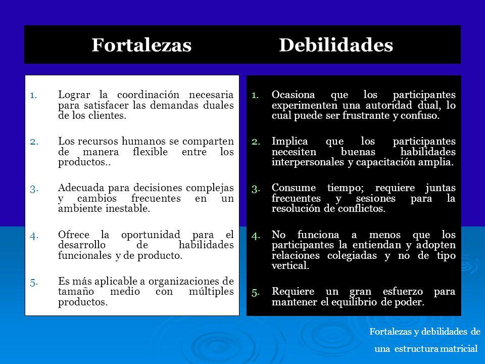 Fortalezas Debilidades 1. 1.Lograr la coordinación necesaria para satisfacer las demandas duales de los clientes. 2. 2.Los recursos humanos se compart
