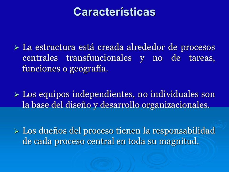 Características La estructura está creada alrededor de procesos centrales transfuncionales y no de tareas, funciones o geografía. La estructura está c