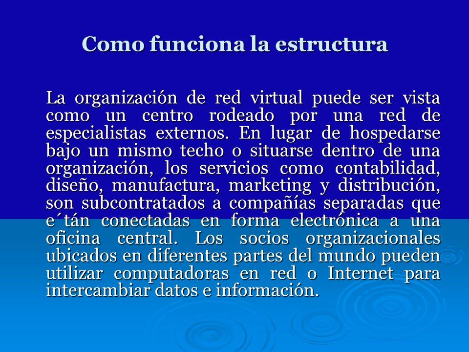 Como funciona la estructura La organización de red virtual puede ser vista como un centro rodeado por una red de especialistas externos. En lugar de h
