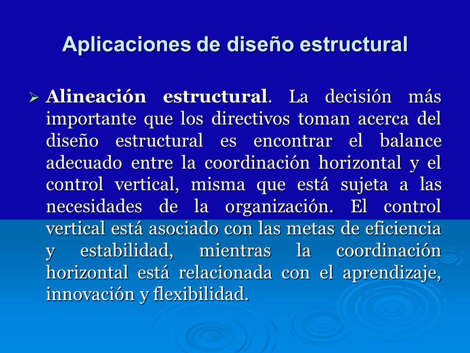 Aplicaciones de diseño estructural Alineación estructural. La decisión más importante que los directivos toman acerca del diseño estructural es encont