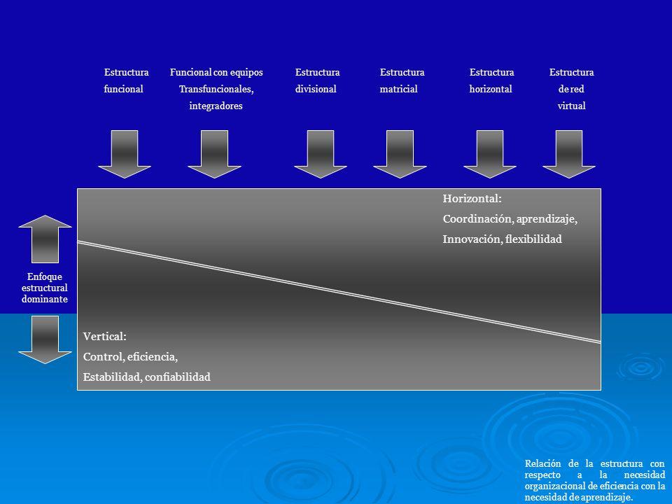 Horizontal: Coordinación, aprendizaje, Innovación, flexibilidad Vertical: Control, eficiencia, Estabilidad, confiabilidad Estructura funcional Funcion