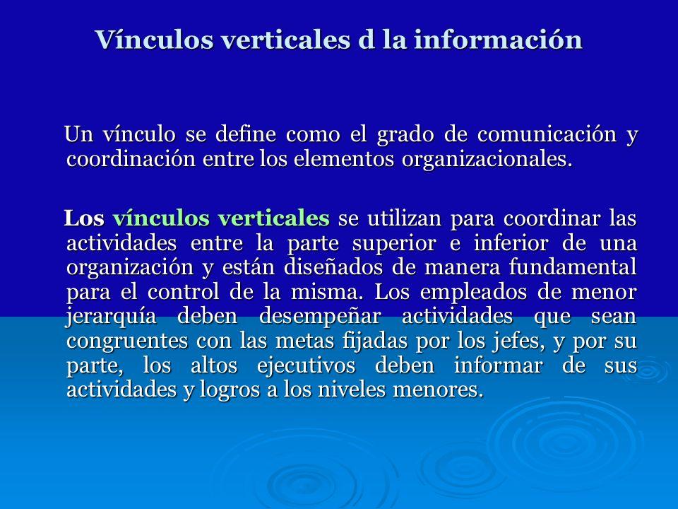 Vínculos verticales d la información Un vínculo se define como el grado de comunicación y coordinación entre los elementos organizacionales. Un víncul