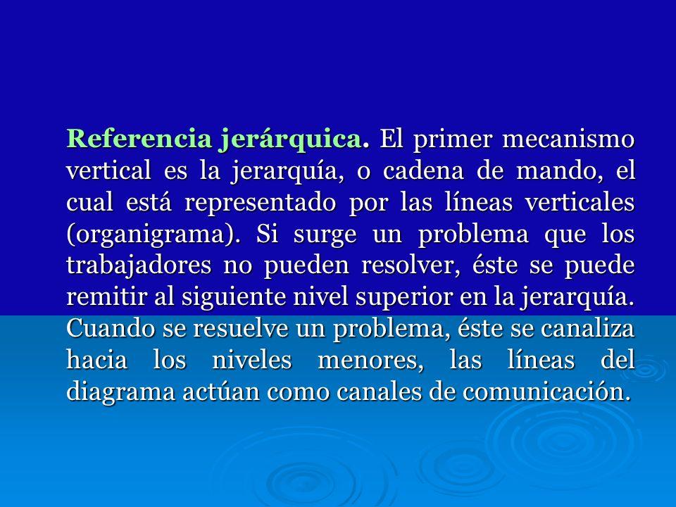 Referencia jerárquica. El primer mecanismo vertical es la jerarquía, o cadena de mando, el cual está representado por las líneas verticales (organigra