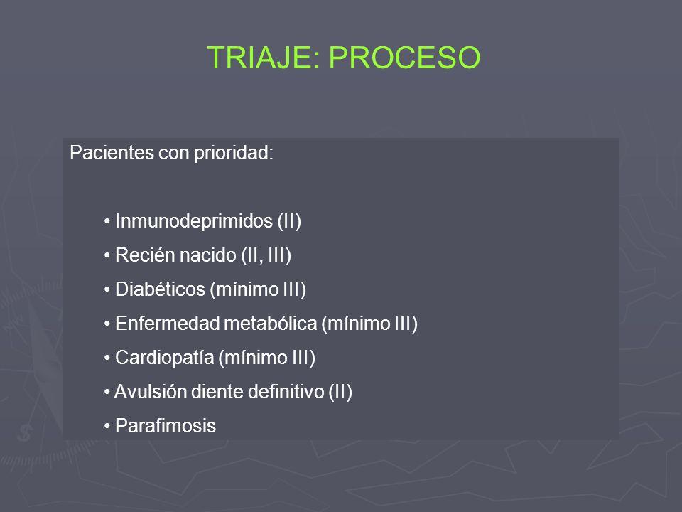 TRIAJE: PROCESO Pacientes con prioridad: Inmunodeprimidos (II) Recién nacido (II, III) Diabéticos (mínimo III) Enfermedad metabólica (mínimo III) Card