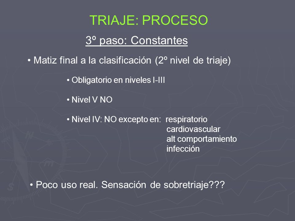Obligatorio en niveles I-III Nivel V NO Nivel IV: NO excepto en: respiratorio cardiovascular alt comportamiento infección TRIAJE: PROCESO 3º paso: Con