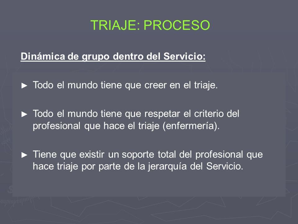 Dinámica de grupo dentro del Servicio: Todo el mundo tiene que creer en el triaje. Todo el mundo tiene que respetar el criterio del profesional que ha
