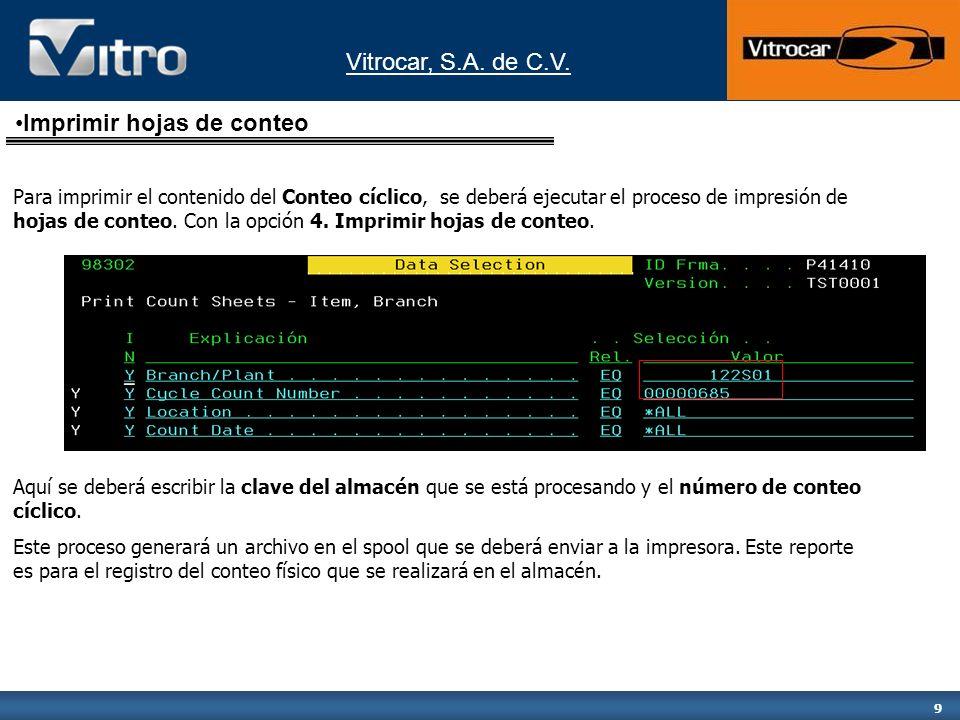 Vitrocar, S.A. de C.V. 9 Para imprimir el contenido del Conteo cíclico, se deberá ejecutar el proceso de impresión de hojas de conteo. Con la opción 4