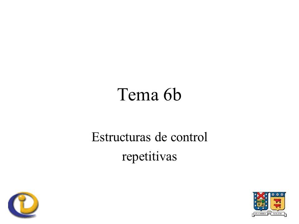 Estructuras de control repetitivas Ciclos –Mientras (while) –Hasta que (do-while) –Número de veces (for)