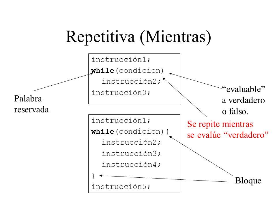 Repetitiva (Mientras) instrucción1; while(condicion) instrucción2; instrucción3; instrucción1; while(condicion){ instrucción2; instrucción3; instrucci
