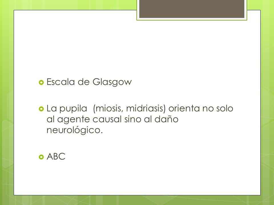 Escala de Glasgow La pupila (miosis, midriasis) orienta no solo al agente causal sino al daño neurológico. ABC