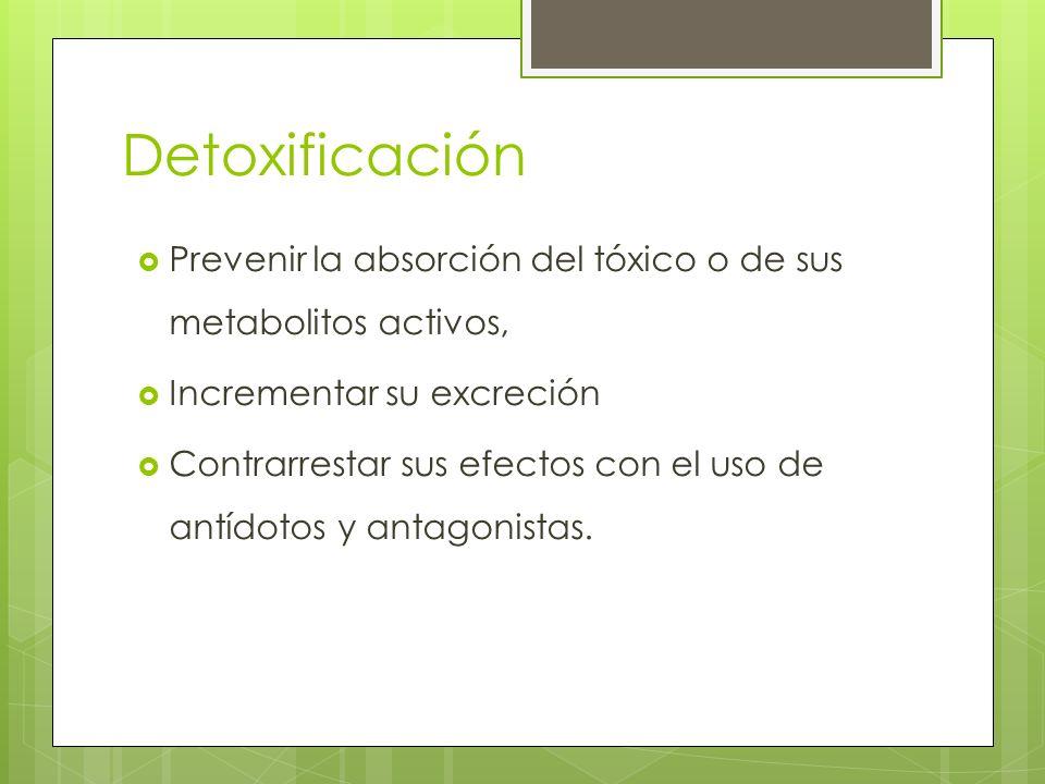 Detoxificación Prevenir la absorción del tóxico o de sus metabolitos activos, Incrementar su excreción Contrarrestar sus efectos con el uso de antídot