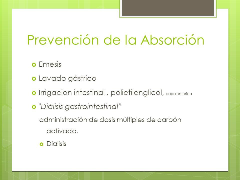 Prevención de la Absorción Emesis Lavado gástrico Irrigacion intestinal, polietilenglicol, capa enterica