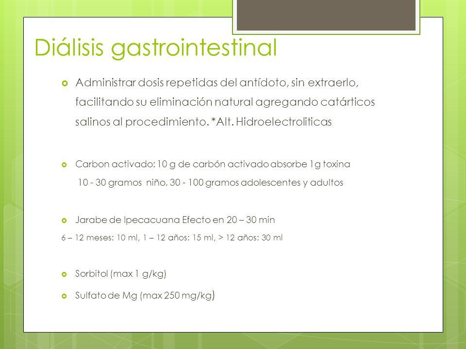 Diálisis gastrointestinal Administrar dosis repetidas del antídoto, sin extraerlo, facilitando su eliminación natural agregando catárticos salinos al