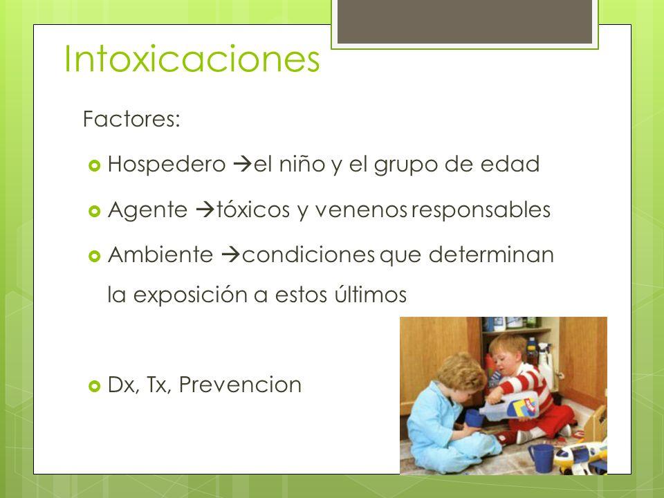 Intoxicaciones Factores: Hospedero el niño y el grupo de edad Agente tóxicos y venenos responsables Ambiente condiciones que determinan la exposición