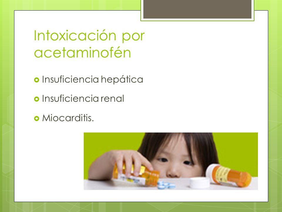 Intoxicación por acetaminofén Insuficiencia hepática Insuficiencia renal Miocarditis.