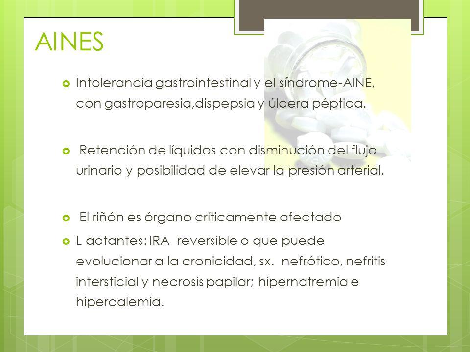 AINES Intolerancia gastrointestinal y el síndrome-AINE, con gastroparesia,dispepsia y úlcera péptica. Retención de líquidos con disminución del flujo