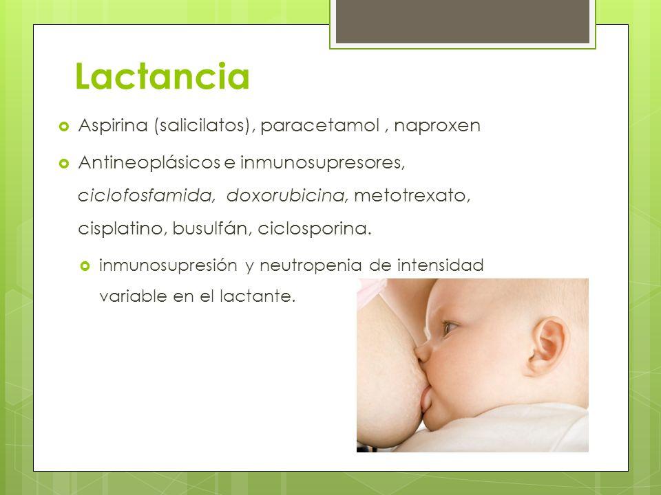 Lactancia Aspirina (salicilatos), paracetamol, naproxen Antineoplásicos e inmunosupresores, ciclofosfamida, doxorubicina, metotrexato, cisplatino, bus
