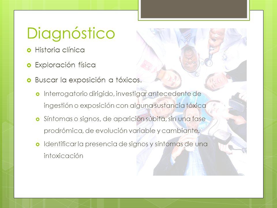 Diagnóstico Historia clínica Exploración física Buscar la exposición a tóxicos. Interrogatorio dirigido, investigar antecedente de ingestión o exposic