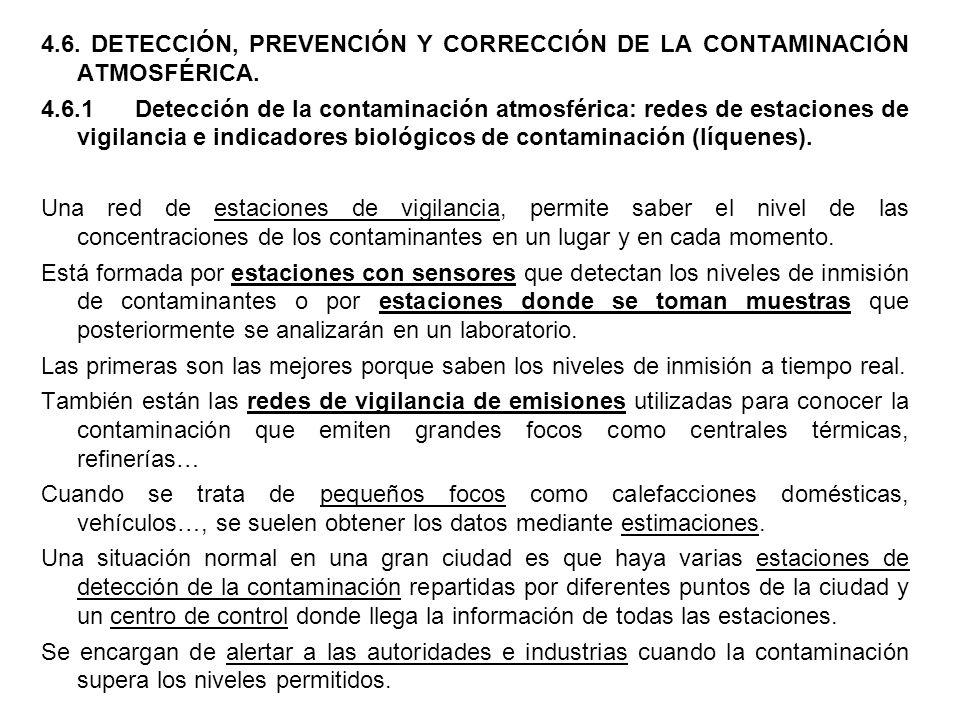4.6. DETECCIÓN, PREVENCIÓN Y CORRECCIÓN DE LA CONTAMINACIÓN ATMOSFÉRICA.