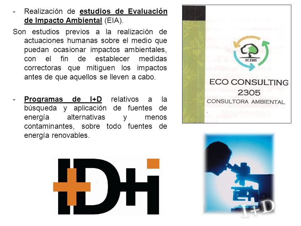 -Realización de estudios de Evaluación de Impacto Ambiental (EIA).
