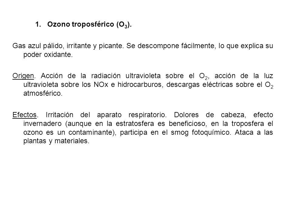 1.Ozono troposférico (O 3 ). Gas azul pálido, irritante y picante.