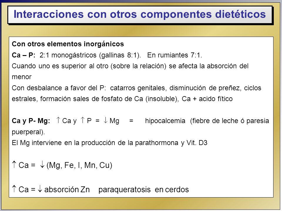 Con otros elementos inorgánicos Ca – P: 2:1 monogástricos (gallinas 8:1). En rumiantes 7:1. Cuando uno es superior al otro (sobre la relación) se afec