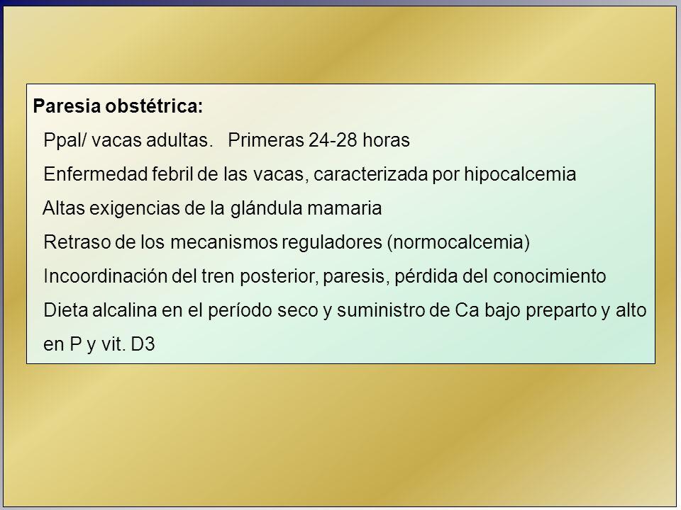 Paresia obstétrica: Ppal/ vacas adultas. Primeras 24-28 horas Enfermedad febril de las vacas, caracterizada por hipocalcemia Altas exigencias de la gl