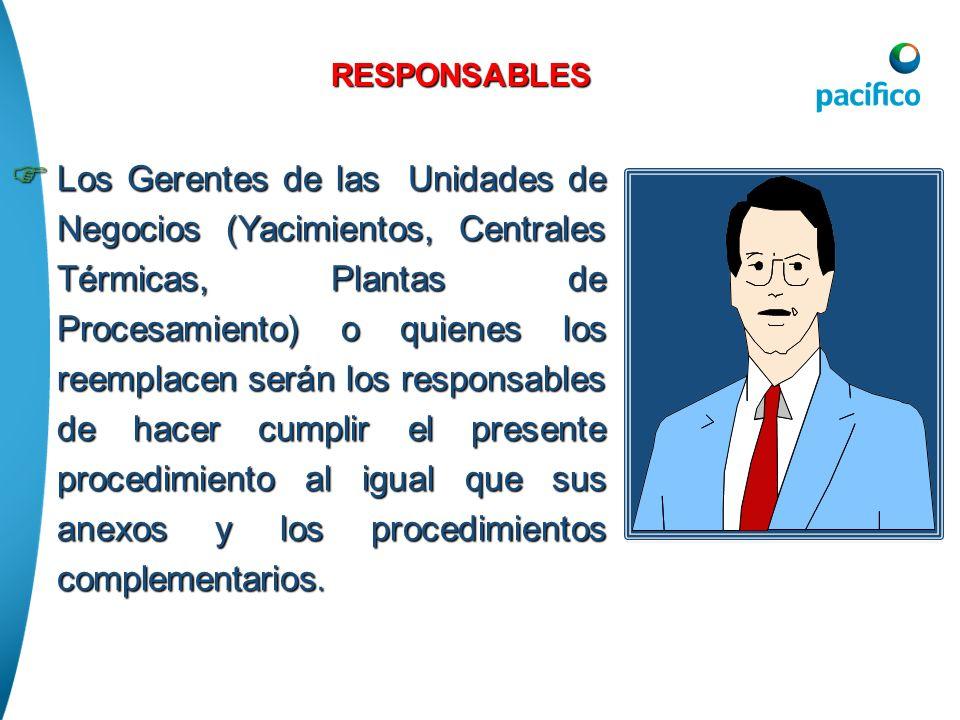 RESPONSABLES Los Gerentes de las Unidades de Negocios (Yacimientos, Centrales Térmicas, Plantas de Procesamiento) o quienes los reemplacen serán los r