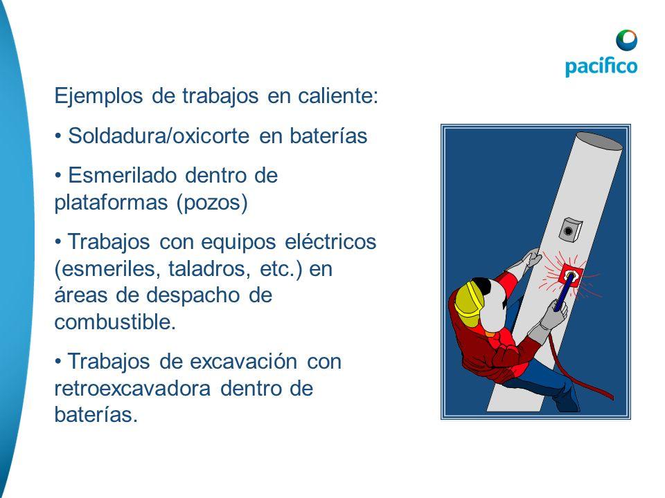 Ejemplos de trabajos en caliente: Soldadura/oxicorte en baterías Esmerilado dentro de plataformas (pozos) Trabajos con equipos eléctricos (esmeriles,