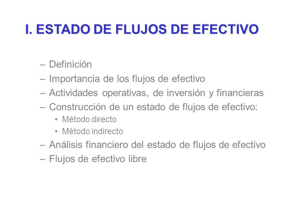 I. ESTADO DE FLUJOS DE EFECTIVO –Definición –Importancia de los flujos de efectivo –Actividades operativas, de inversión y financieras –Construcción d