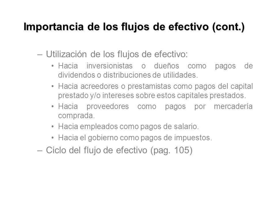 Importancia de los flujos de efectivo (cont.) –Utilización de los flujos de efectivo: Hacia inversionistas o dueños como pagos de dividendos o distrib