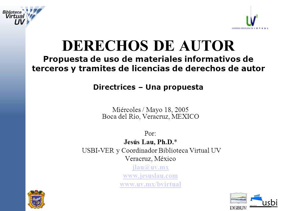 Solicitud de autorización para usar material bibliográfico SOLICITUD A nombre de la Universidad Virtual de la Universidad Veracruzana (UV2), solicito atentamente su autorización para utilizar el material informativo que abajo se describe sin fines de lucro, en el curso ---------------------------------.