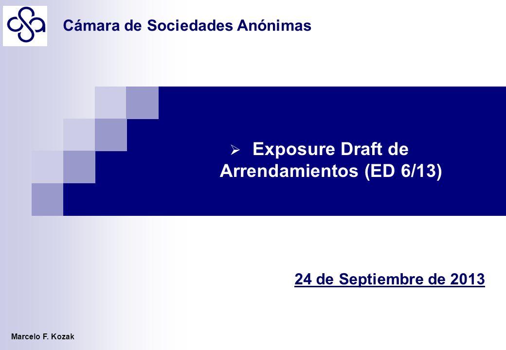 Marcelo F. Kozak 24 de Septiembre de 2013 Exposure Draft de Arrendamientos (ED 6/13) Cámara de Sociedades Anónimas
